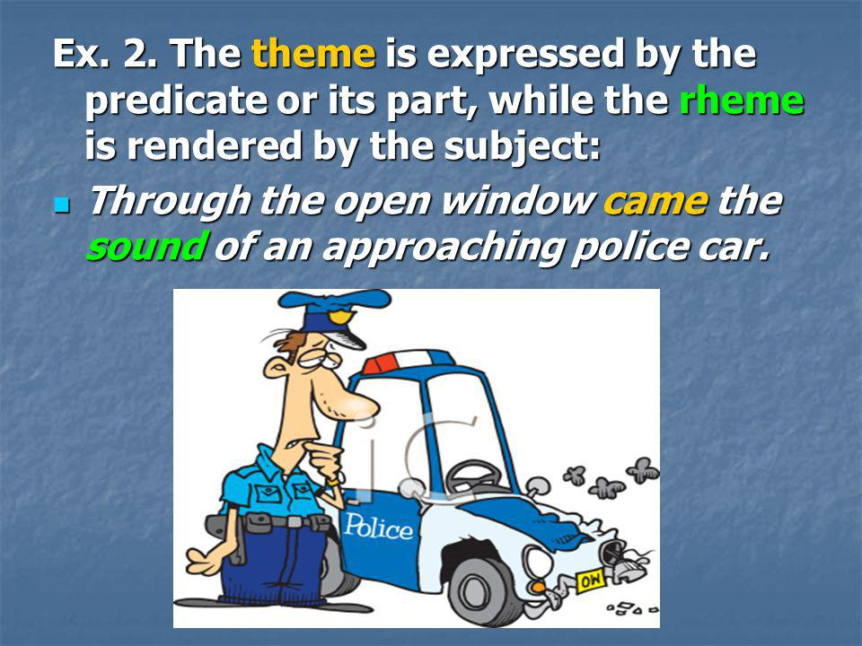 Ex. 2. The theme is expressed by the predicate or its part, while the rheme is rendered by the subject: Through the open window came the sound of an a