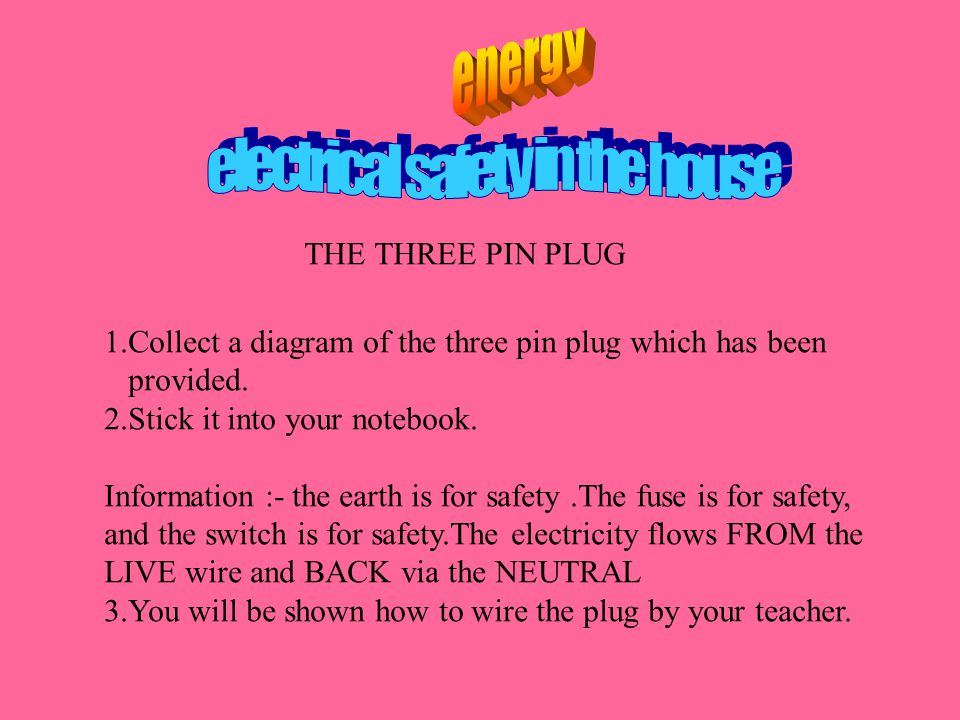 THE THREE PIN PLUG 1.Collect a diagram of the three pin plug which has been provided.