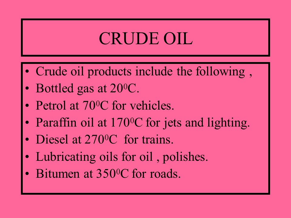 CRUDE OIL Crude oil products include the following, Bottled gas at 20 0 C.