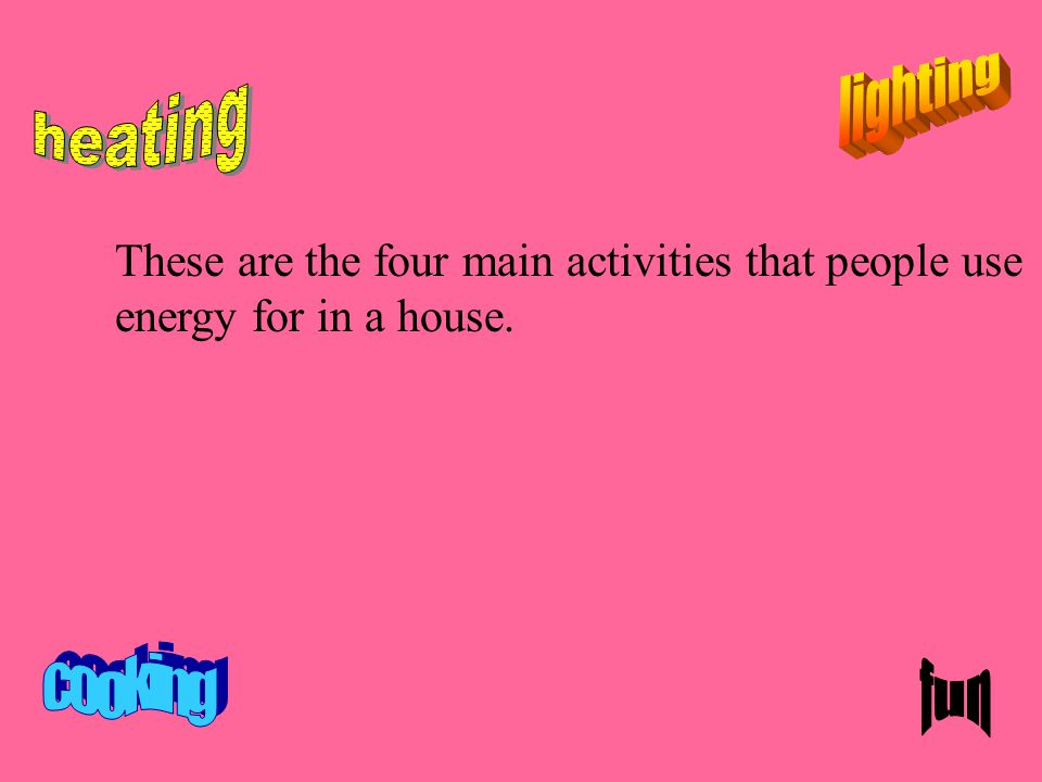 These are the four main activities that people use energy for in a house.
