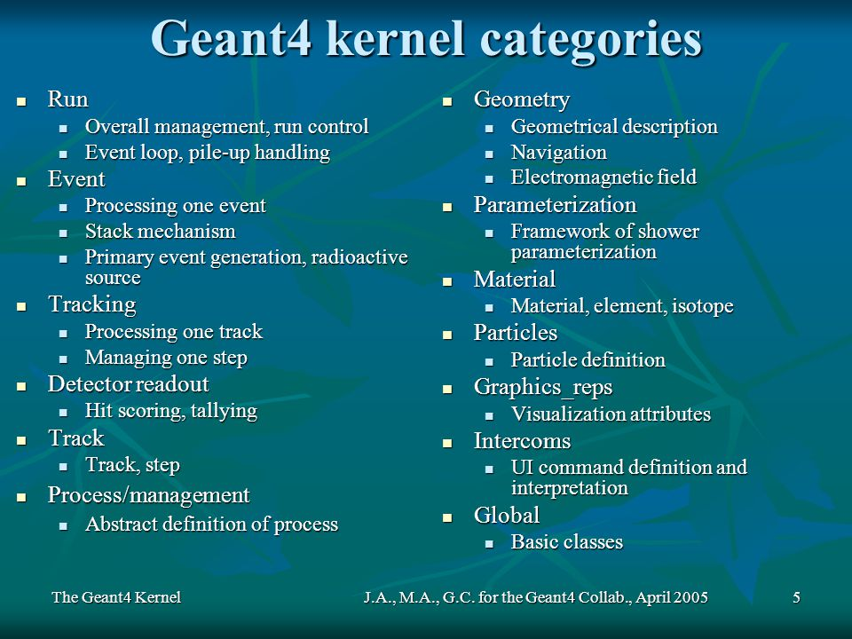The Geant4 KernelJ.A., M.A., G.C. for the Geant4 Collab., April 20055 Geant4 kernel categories Run Run Overall management, run control Overall managem