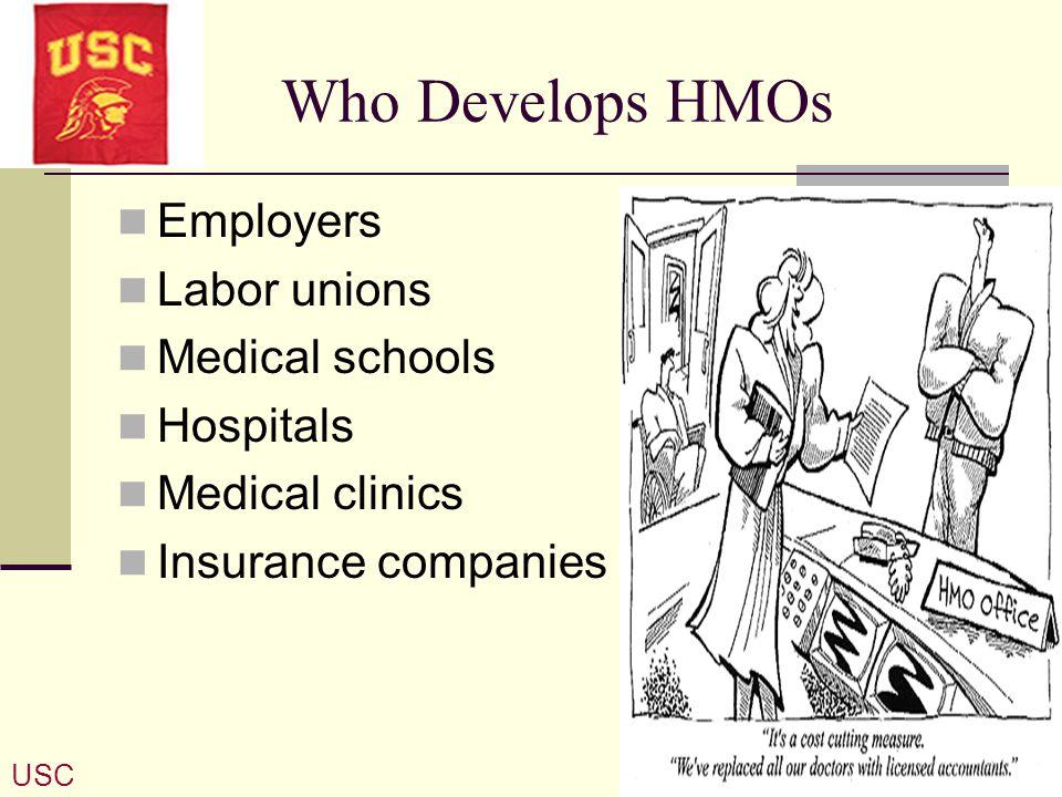 Who Develops HMOs Employers Labor unions Medical schools Hospitals Medical clinics Insurance companies USC