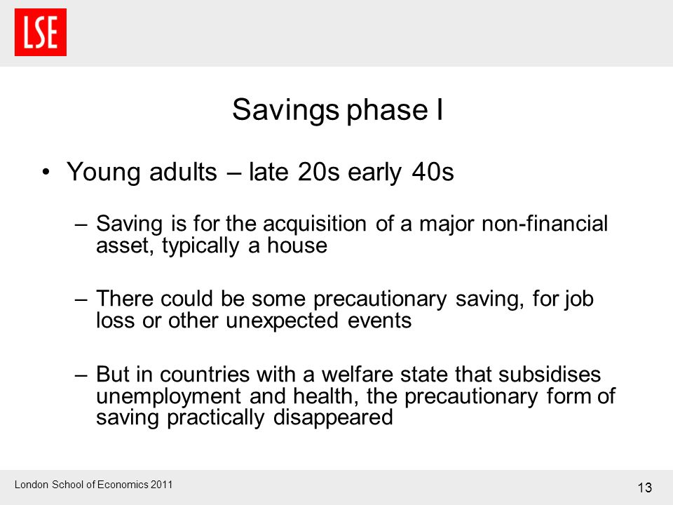 London School of Economics 2011 Savings phase I Young adults – late 20s early 40s –Saving is for the acquisition of a major non-financial asset, typically a house –There could be some precautionary saving, for job loss or other unexpected events –But in countries with a welfare state that subsidises unemployment and health, the precautionary form of saving practically disappeared 13