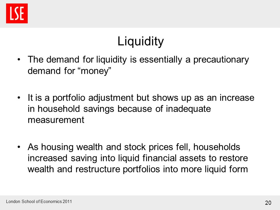 London School of Economics 2011 20 Liquidity The demand for liquidity is essentially a precautionary demand for money It is a portfolio adjustment but