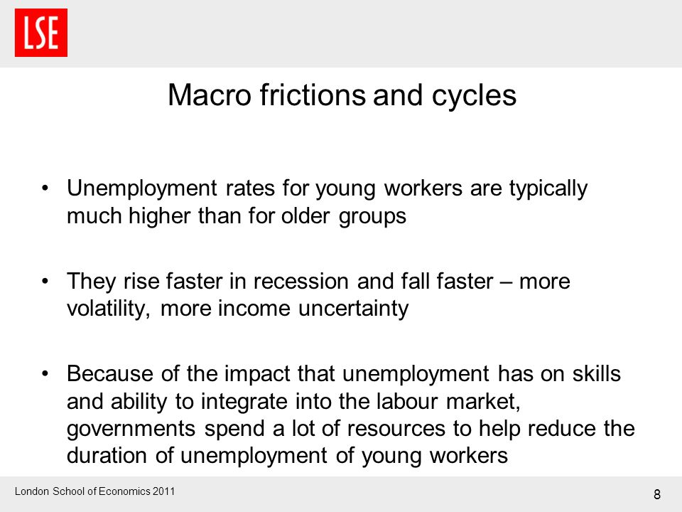 London School of Economics 2011 Macro frictions and cycles Unemployment rates for young workers are typically much higher than for older groups They r