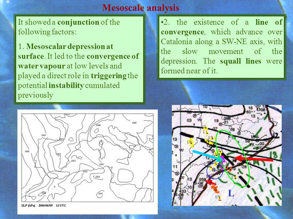 Mesoscale analysis L It showed a conjunction of the following factors: Mesoscalar depression at surface.