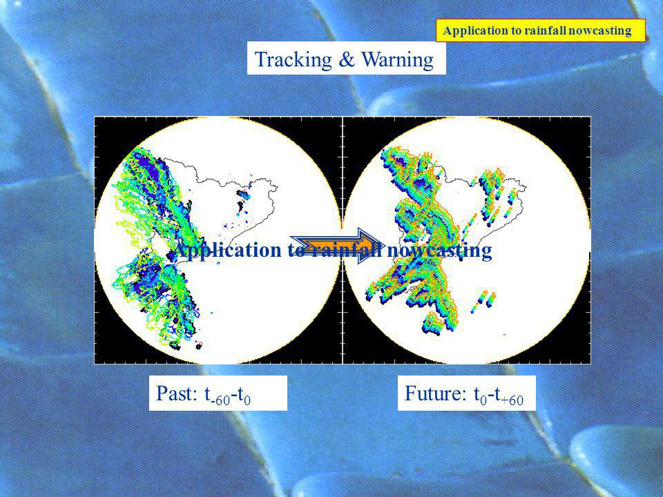 Past: t -60 -t 0 Future: t 0 -t +60 Tracking & Warning Application to rainfall nowcasting