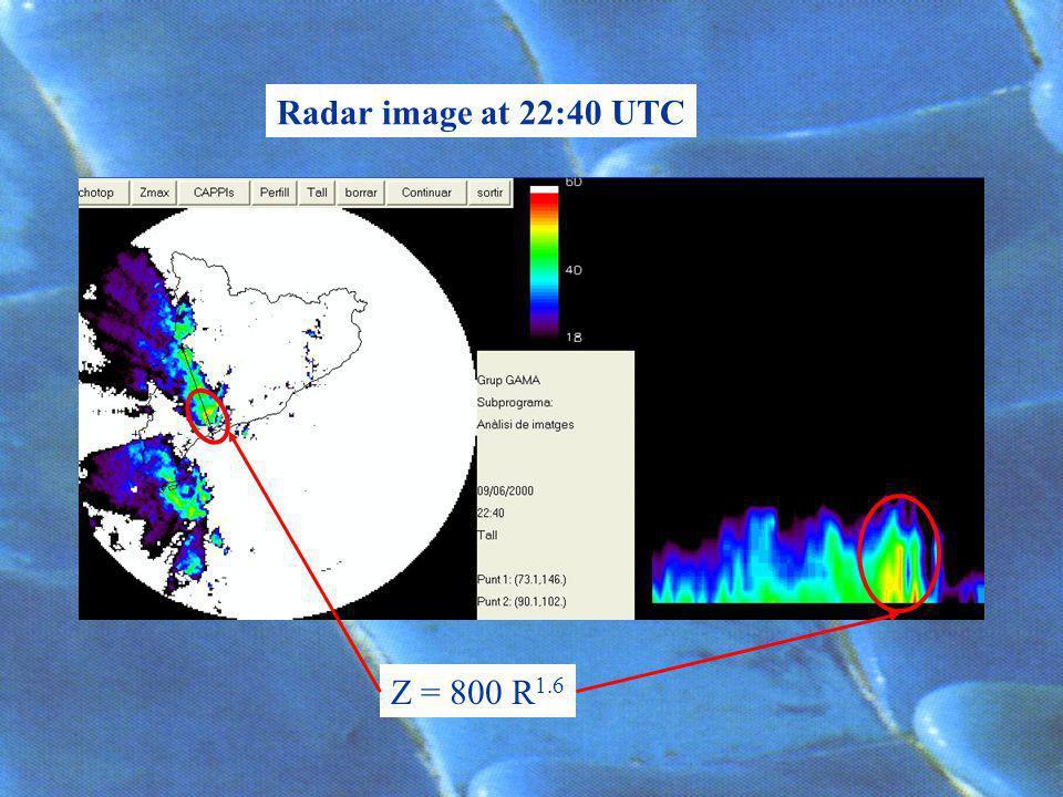 Radar image at 22:40 UTC Z = 800 R 1.6