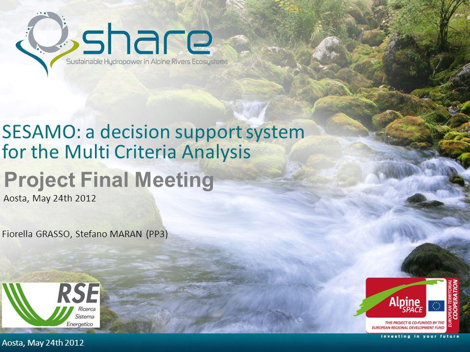 5/30/2014 Aosta, May 24th 2012 SESAMO: a decision support system for the Multi Criteria Analysis Fiorella GRASSO, Stefano MARAN (PP3) Project Final Me