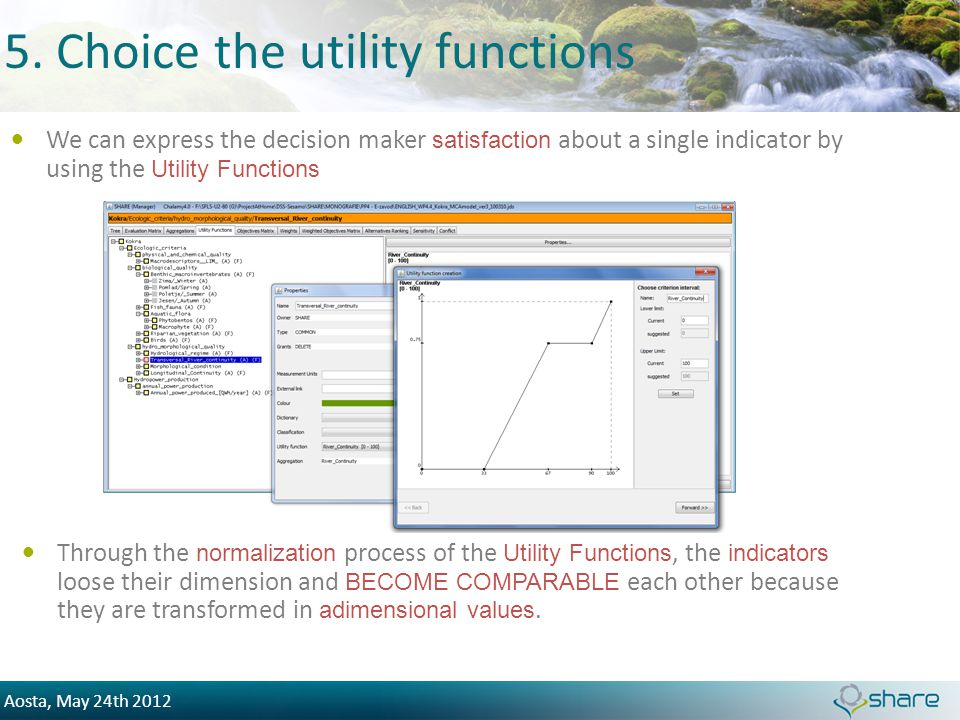 Aosta, May 24th 2012 5. Choice the utility functions We can express the decision maker satisfaction about a single indicator by using the Utility Func