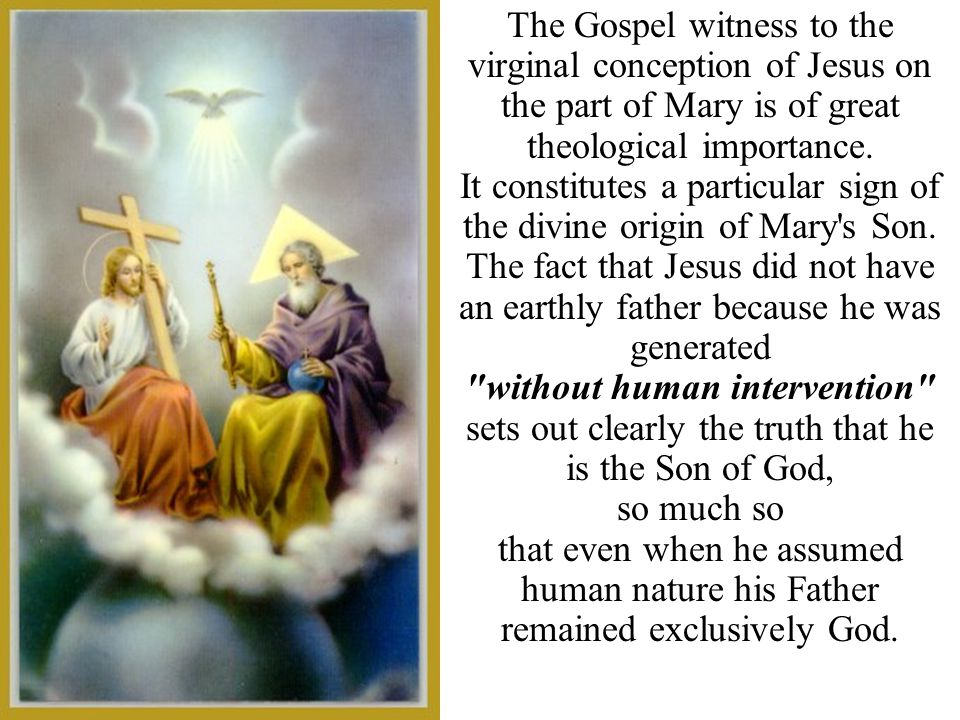 The Gospel witness to the virginal conception of Jesus on the part of Mary is of great theological importance. It constitutes a particular sign of the