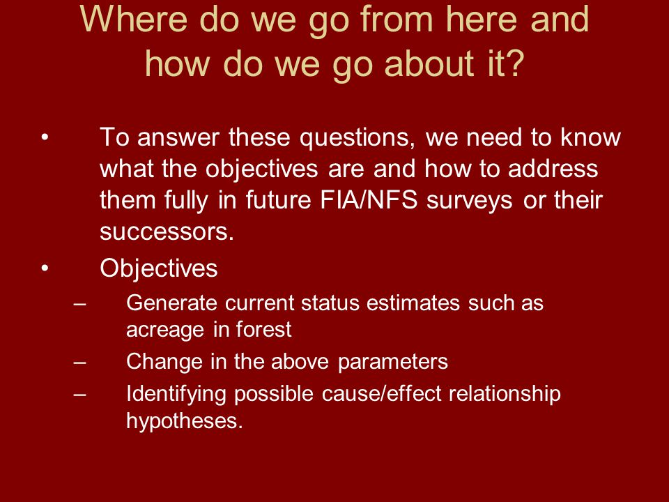 Where do we go from here and how do we go about it? To answer these questions, we need to know what the objectives are and how to address them fully i