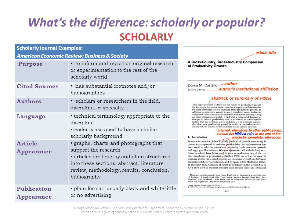 Whats the difference: scholarly or popular? SCHOLARLY Scholarly Journal Examples: American Economic Review; Business & Society Purpose to inform and r