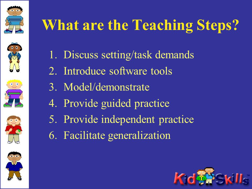 What are the Teaching Steps? 1.Discuss setting/task demands 2.Introduce software tools 3.Model/demonstrate 4.Provide guided practice 5.Provide indepen