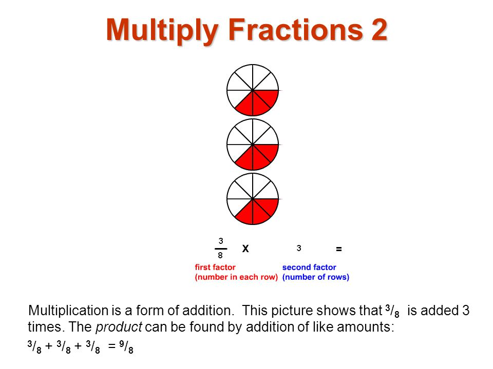 Multiply Fractions 13 The second factor has been decreased to 1 / 2.