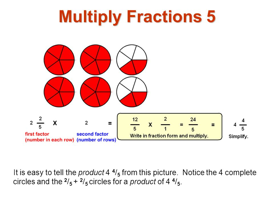 Multiply Fractions 6 To calculate the product, write both factors in fraction form.