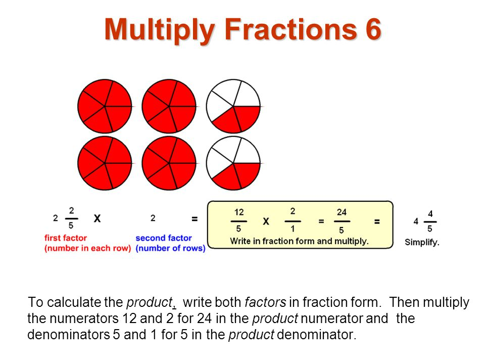 Multiply Fractions 7 The same example, 2 2 / 5 x 2 using a rectangular array.