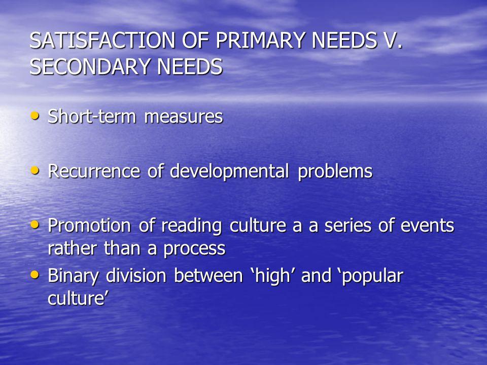 SATISFACTION OF PRIMARY NEEDS V. SECONDARY NEEDS Short-term measures Short-term measures Recurrence of developmental problems Recurrence of developmen