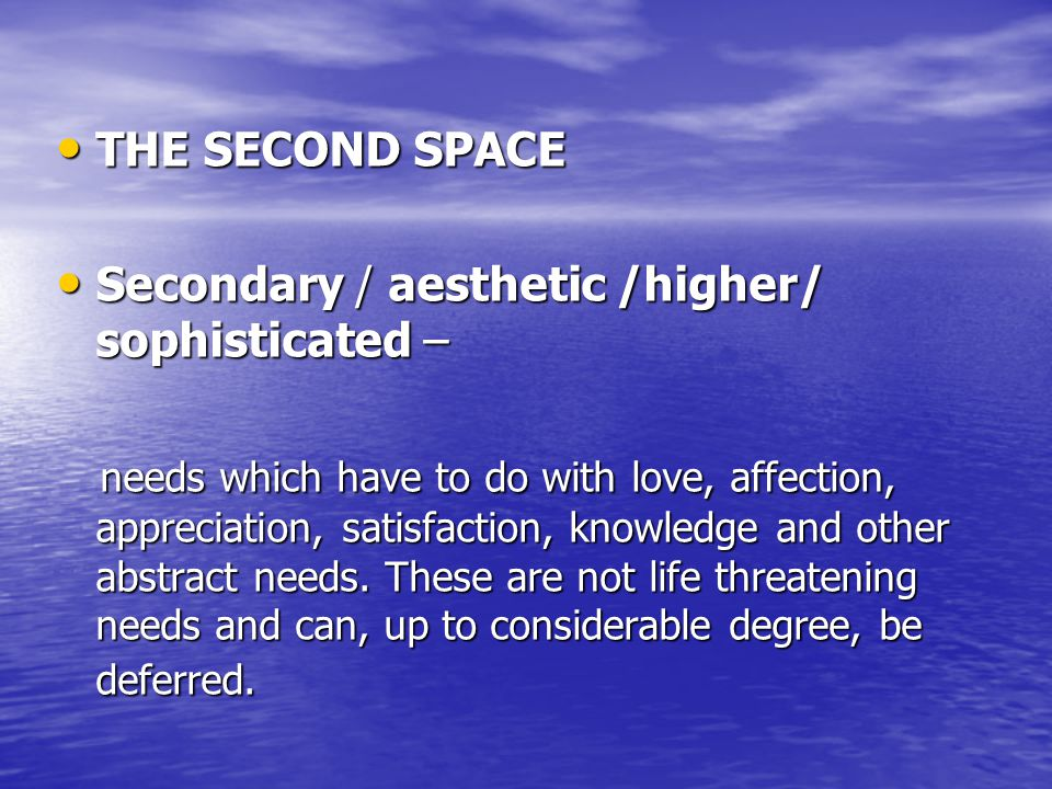 THE SECOND SPACE THE SECOND SPACE Secondary / aesthetic /higher/ sophisticated – Secondary / aesthetic /higher/ sophisticated – needs which have to do with love, affection, appreciation, satisfaction, knowledge and other abstract needs.