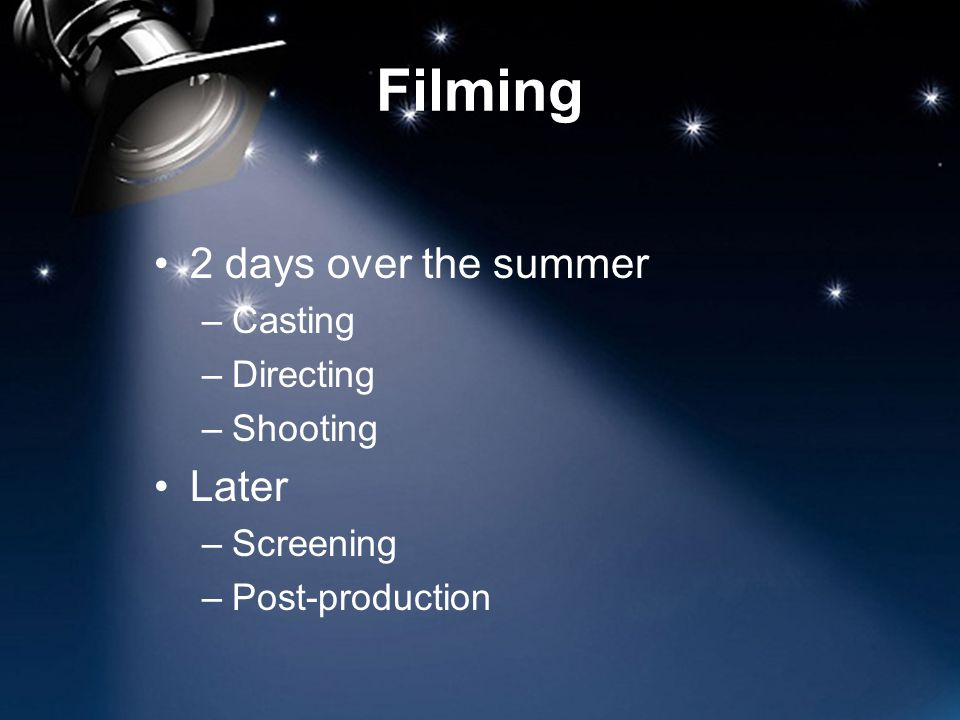 Filming 2 days over the summer –Casting –Directing –Shooting Later –Screening –Post-production