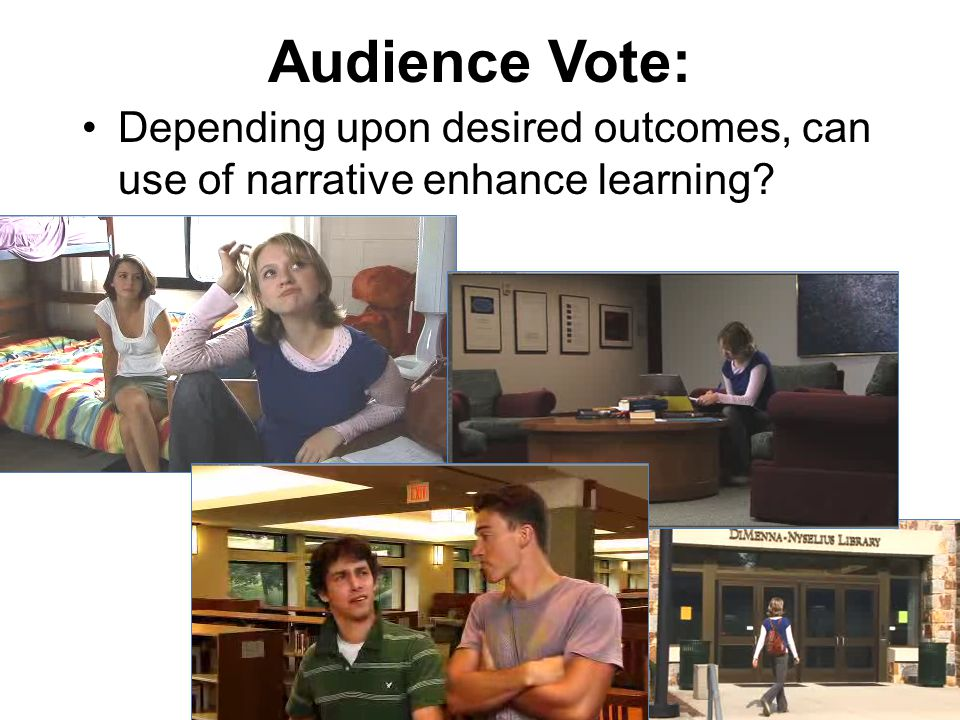Audience Vote: Depending upon desired outcomes, can use of narrative enhance learning?