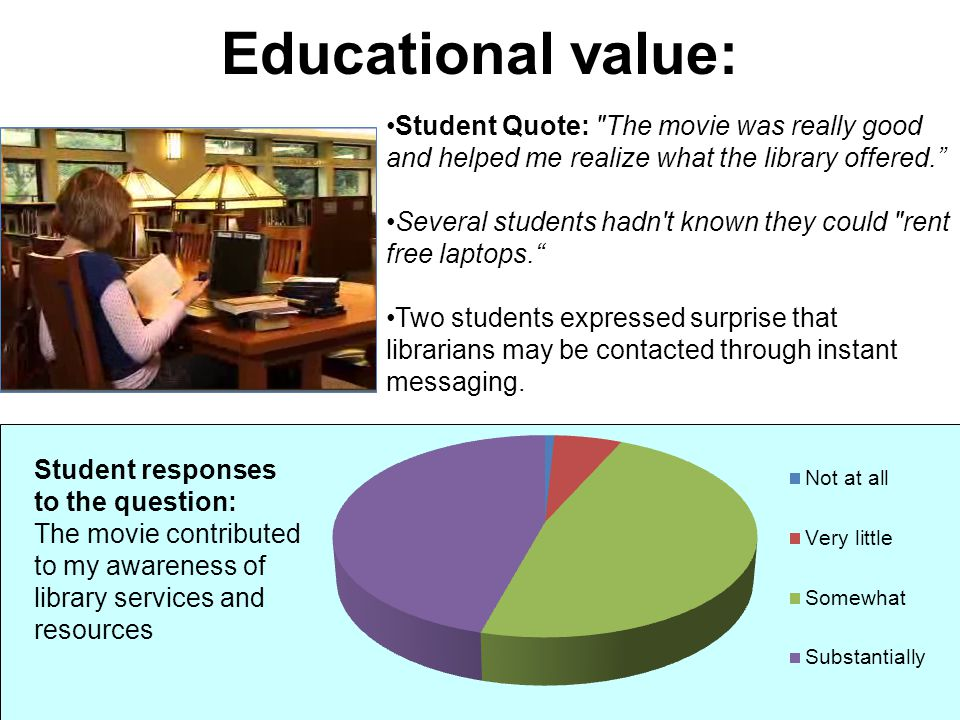 Educational value: Student Quote: The movie was really good and helped me realize what the library offered.