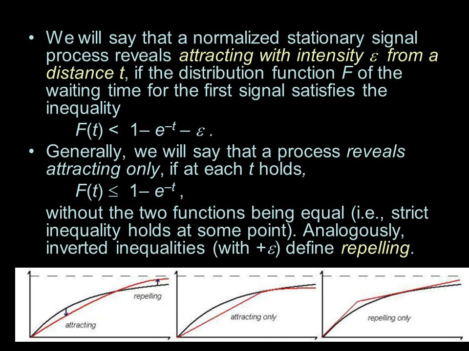 We will say that a normalized stationary signal process reveals attracting with intensity from a distance t, if the distribution function F of the wai