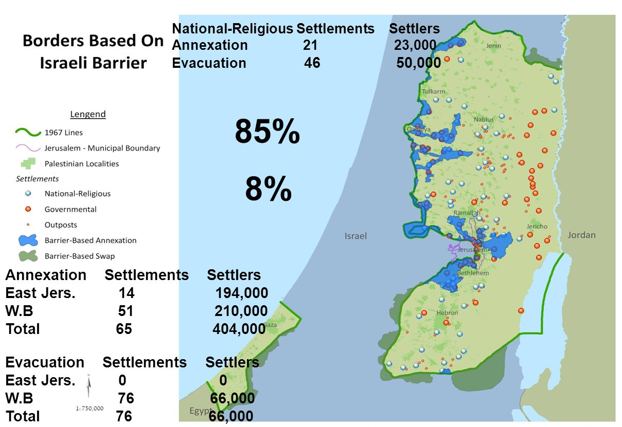 Annexation Settlements Settlers East Jers. 14 194,000 W.B 51 210,000 Total 65 404,000 Evacuation Settlements Settlers East Jers. 0 0 W.B 76 66,000 Tot