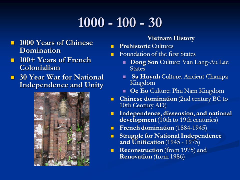 1000 - 100 - 30 1000 Years of Chinese Domination 1000 Years of Chinese Domination 100+ Years of French Colonialism 100+ Years of French Colonialism 30