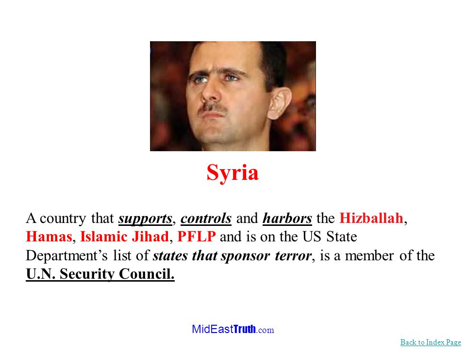 MidEast Truth.com The U.N. sees no great danger posed by totalitarian nations imposing their will on neighbors – regimes like the one in Syria. Syria,