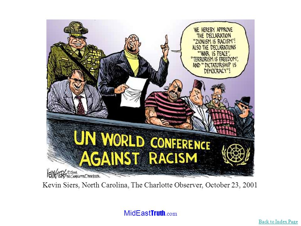 MidEast Truth.com <<< Continued from previous slide...And this Conference has become the vehicle for those who spread the biggest Nazi-like lie of all - that Jewish self-determination - Zionism - is itself racist… Antisemitism was deliberately omitted in the Vienna Declaration of Human Rights.