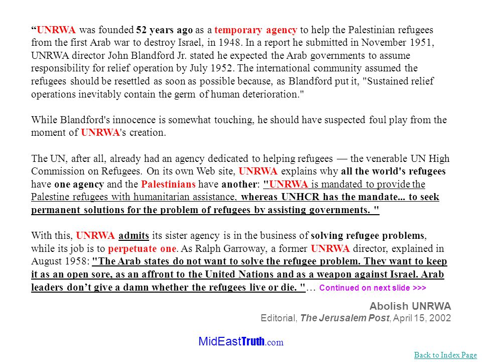 MidEast Truth.com Solving the refugee problem or supporting terrorism Back to Index Page