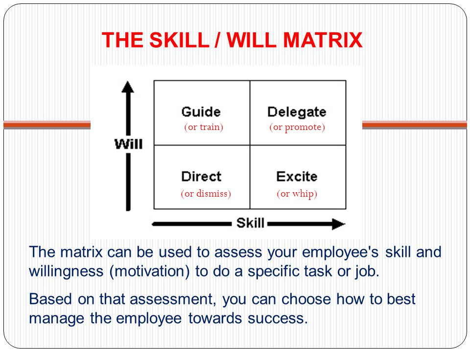 THE SKILL / WILL MATRIX The matrix can be used to assess your employee's skill and willingness (motivation) to do a specific task or job. Based on tha