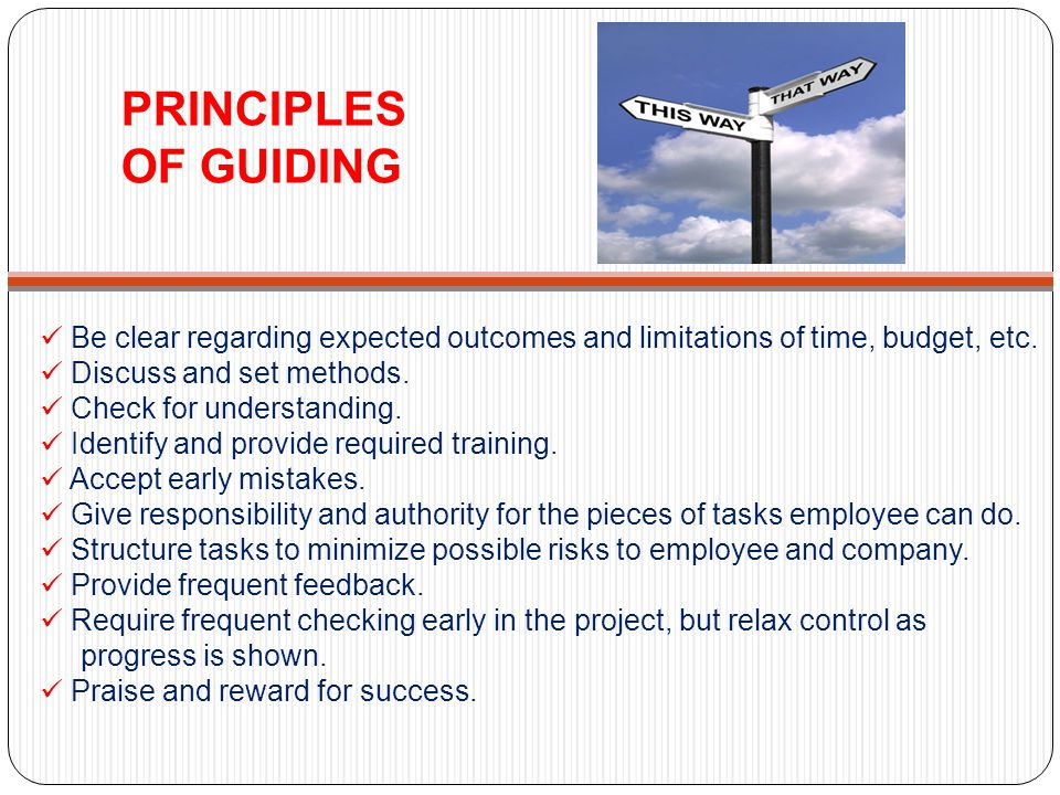 PRINCIPLES OF GUIDING Be clear regarding expected outcomes and limitations of time, budget, etc. Discuss and set methods. Check for understanding. Ide