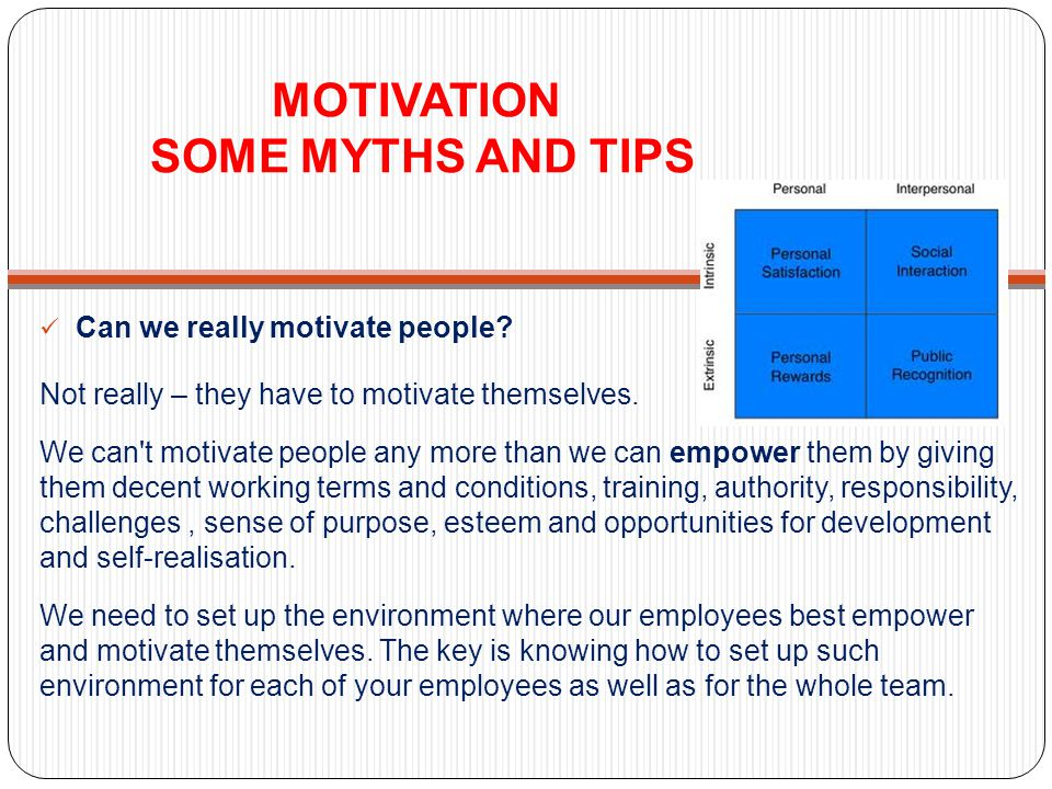 MOTIVATION SOME MYTHS AND TIPS Can we really motivate people? Not really – they have to motivate themselves. We can't motivate people any more than we