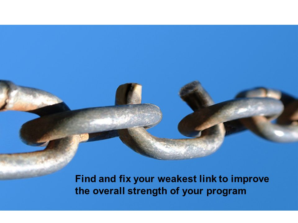 A chain will break at its weakest link.