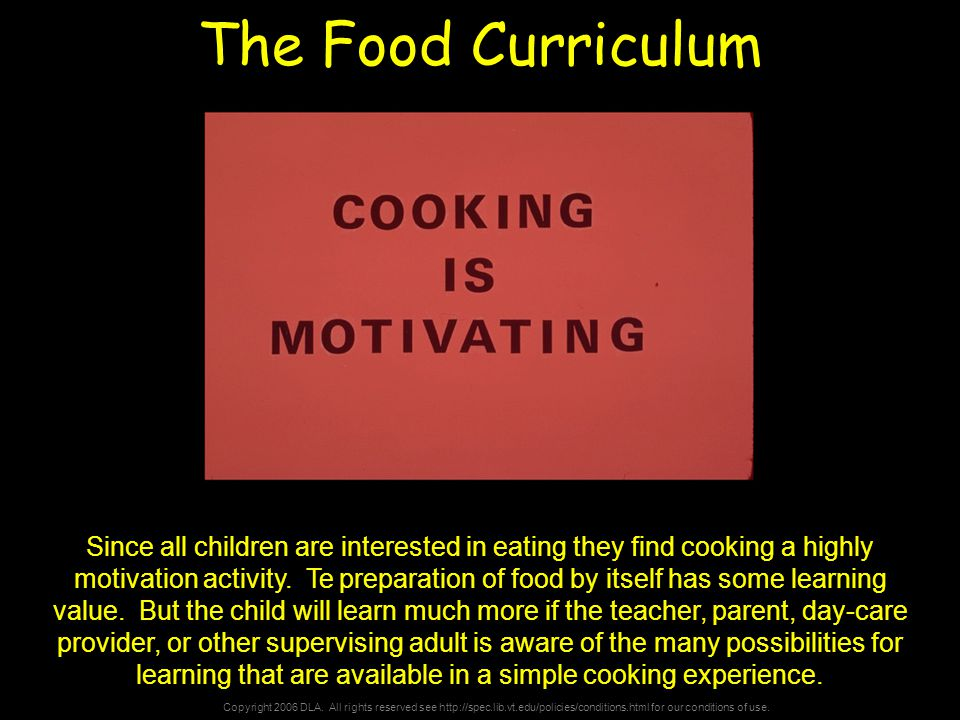Copyright 2006 DLA. All rights reserved see http://spec.lib.vt.edu/policies/conditions.html for our conditions of use. The Food Curriculum Since all c