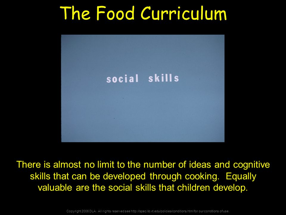 Copyright 2006 DLA. All rights reserved see http://spec.lib.vt.edu/policies/conditions.html for our conditions of use. The Food Curriculum There is al