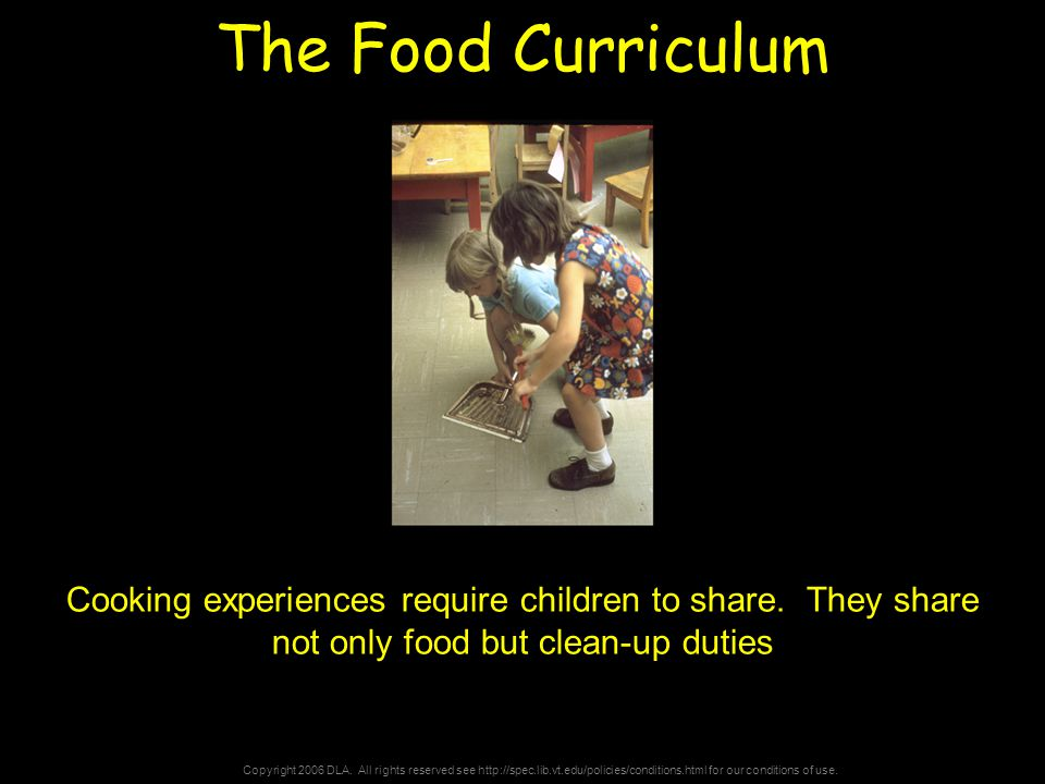 Copyright 2006 DLA. All rights reserved see http://spec.lib.vt.edu/policies/conditions.html for our conditions of use. The Food Curriculum Cooking exp