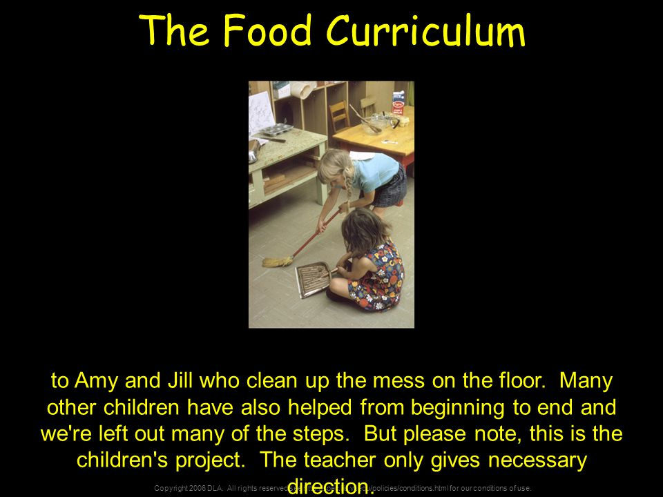 Copyright 2006 DLA. All rights reserved see http://spec.lib.vt.edu/policies/conditions.html for our conditions of use. The Food Curriculum to Amy and
