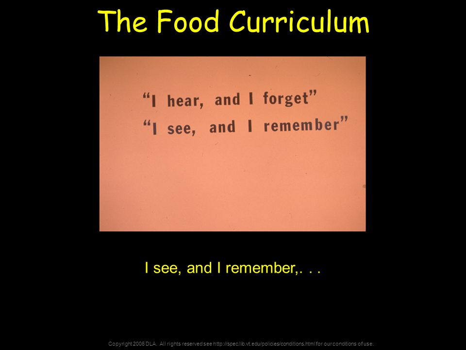 Copyright 2006 DLA. All rights reserved see http://spec.lib.vt.edu/policies/conditions.html for our conditions of use. The Food Curriculum I see, and
