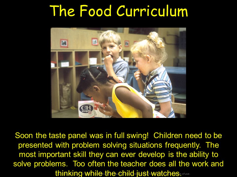 Copyright 2006 DLA. All rights reserved see http://spec.lib.vt.edu/policies/conditions.html for our conditions of use. The Food Curriculum Soon the ta
