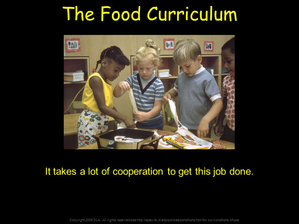 Copyright 2006 DLA. All rights reserved see http://spec.lib.vt.edu/policies/conditions.html for our conditions of use. The Food Curriculum It takes a