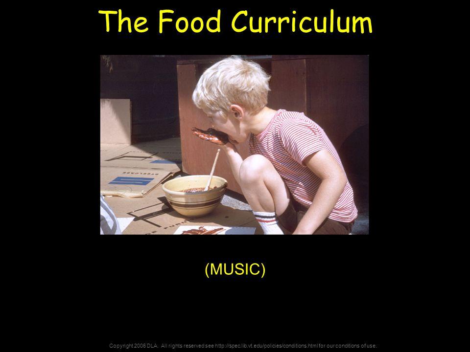 Copyright 2006 DLA. All rights reserved see http://spec.lib.vt.edu/policies/conditions.html for our conditions of use. The Food Curriculum (MUSIC)