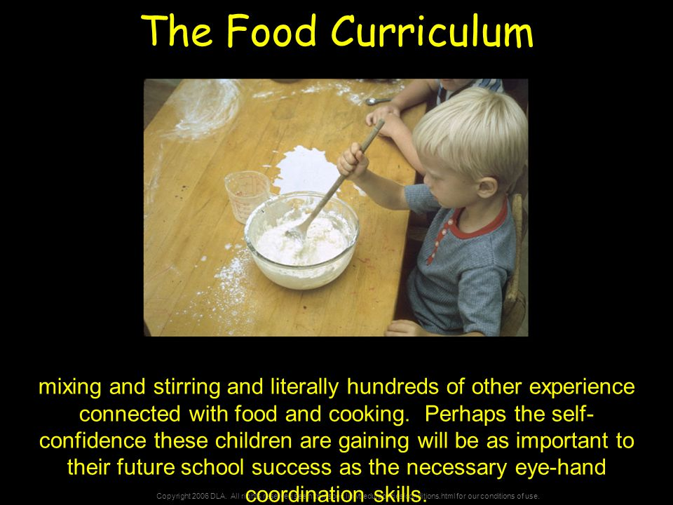 Copyright 2006 DLA. All rights reserved see http://spec.lib.vt.edu/policies/conditions.html for our conditions of use. The Food Curriculum mixing and