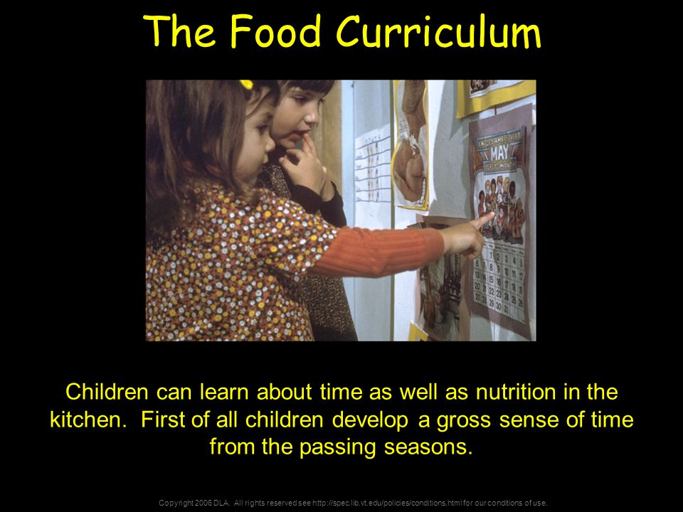 Copyright 2006 DLA. All rights reserved see http://spec.lib.vt.edu/policies/conditions.html for our conditions of use. The Food Curriculum Children ca