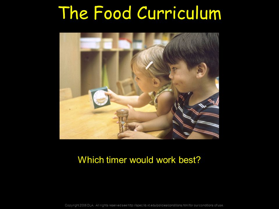 Copyright 2006 DLA. All rights reserved see http://spec.lib.vt.edu/policies/conditions.html for our conditions of use. The Food Curriculum Which timer