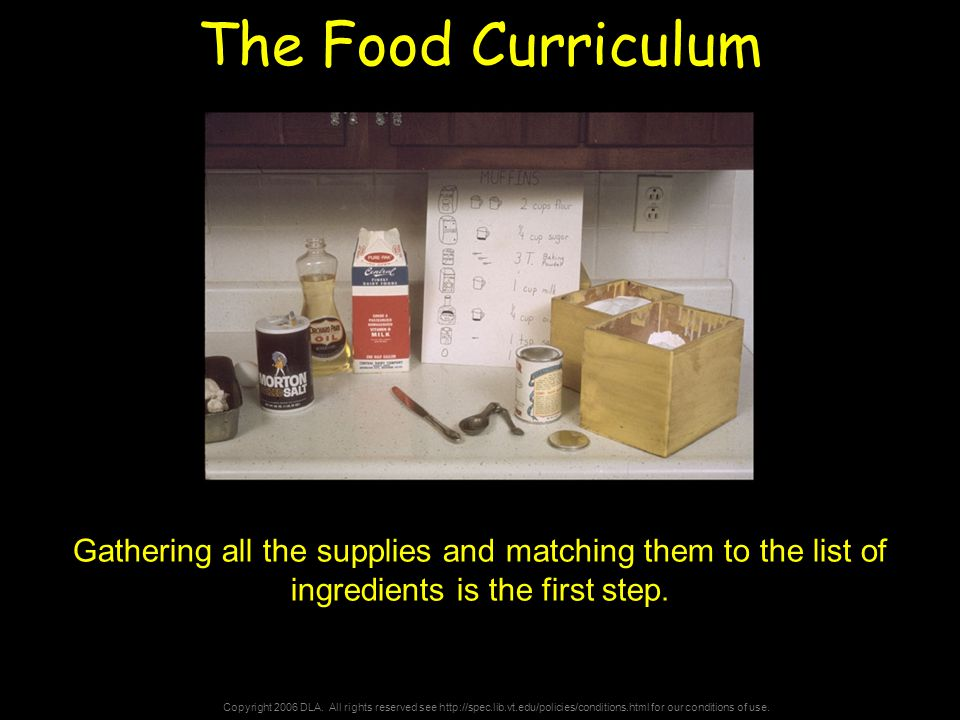 Copyright 2006 DLA. All rights reserved see http://spec.lib.vt.edu/policies/conditions.html for our conditions of use. The Food Curriculum Gathering a