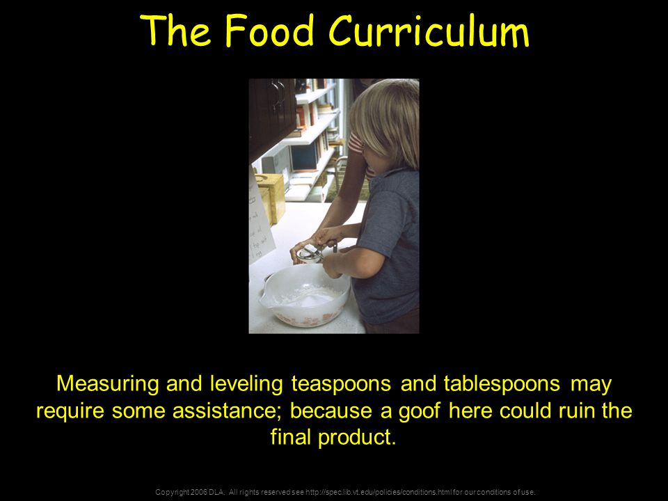 Copyright 2006 DLA. All rights reserved see http://spec.lib.vt.edu/policies/conditions.html for our conditions of use. The Food Curriculum Measuring a