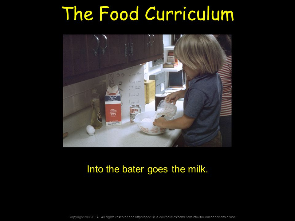 Copyright 2006 DLA. All rights reserved see http://spec.lib.vt.edu/policies/conditions.html for our conditions of use. The Food Curriculum Into the ba